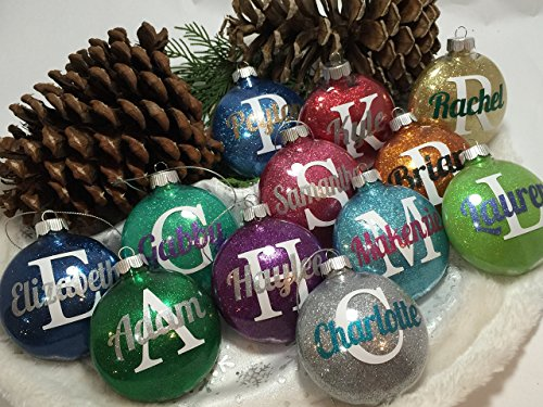 Glitter Filled Monogram Ornament Personalized with Your Name and Your - Monogram Ornament