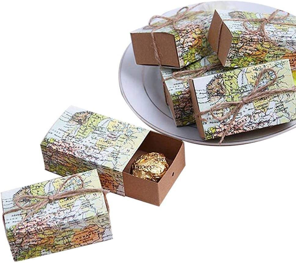 TOOGOO 50 Pcs Mapa De Todo El Mundo?Cajas De Favor Caja del Favor De Kraft del Vintage Bolsa De Regalo De Caramelo para Viajar Fiesta Temática De Soltera Cumplea?os Bebé Ducha: Amazon.es: