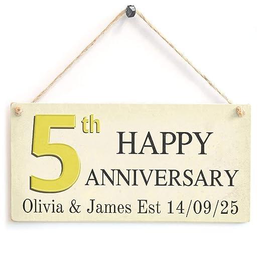 Shunry 5th Happy Anniversary Colgar en la Pared Letrero de ...