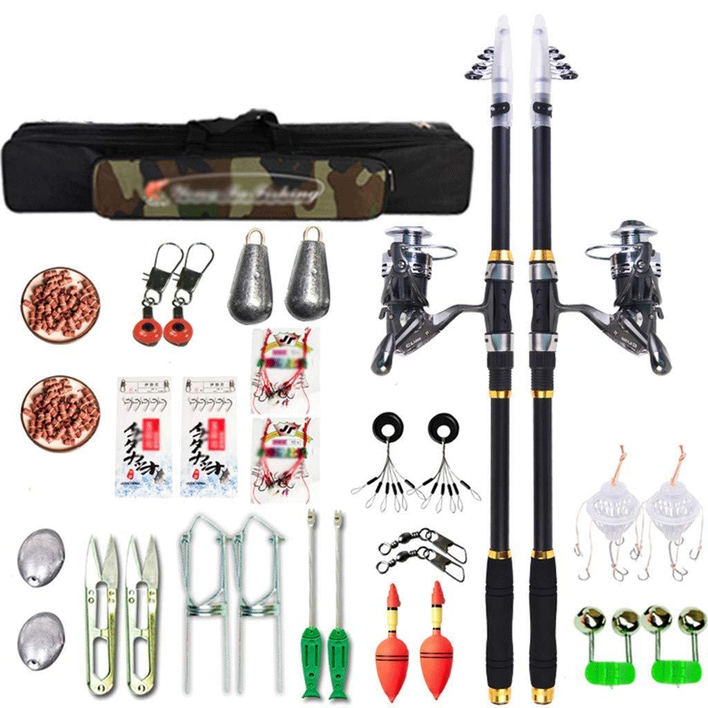 釣り竿釣り竿セット、伸縮自在の釣り竿とリールの組み合わせ、回転ロッドとリールの組み合わせ釣り具(色:マルチカラー、サイズ:2.1 + 2.4) Multi-colo赤 2.1+2.4