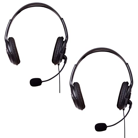 HDE XBOX 360 Headset Headphone Mic 2 Pack BLACK Game Chat Live Microphone Compatible With