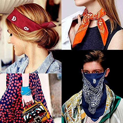 ZWOOS Bandanas for Men and Women 12 Packs Paisley Neckerchiefs Novelty Cowboy Scarf for Fashion Coordinate