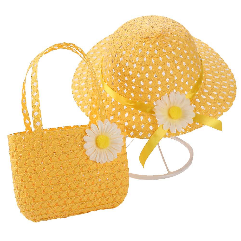Haifly Kids Summer Sun Hat and Handbag Sets Wide Brim Straw Beach Hat Straw Bag with Daisy Flower for Girls