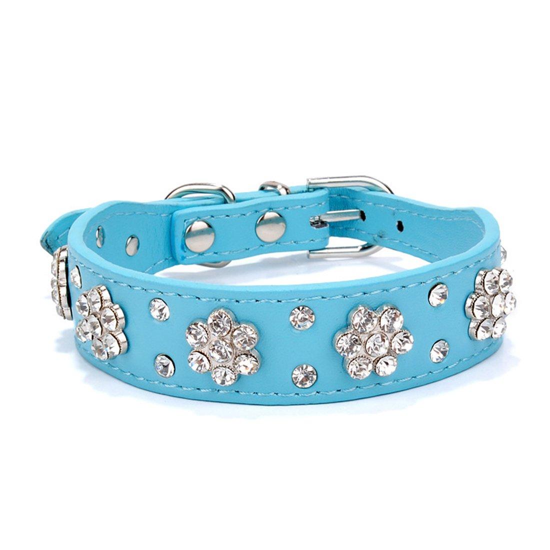 bluee M bluee M Flyusa 2 Rows Rhinestone Bling Plum Blossom Studded Leather Dog Leash Dog Collar for Small or Medium Boy Girls Dog Pet,bluee,M