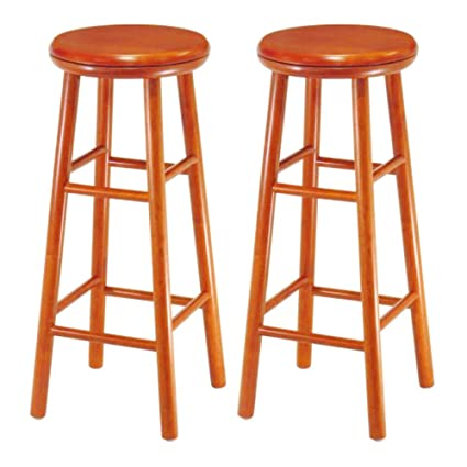 Marvelous Amazon Com Cherry Bar Stool Set Of 2 Kitchen Counter Stools Machost Co Dining Chair Design Ideas Machostcouk