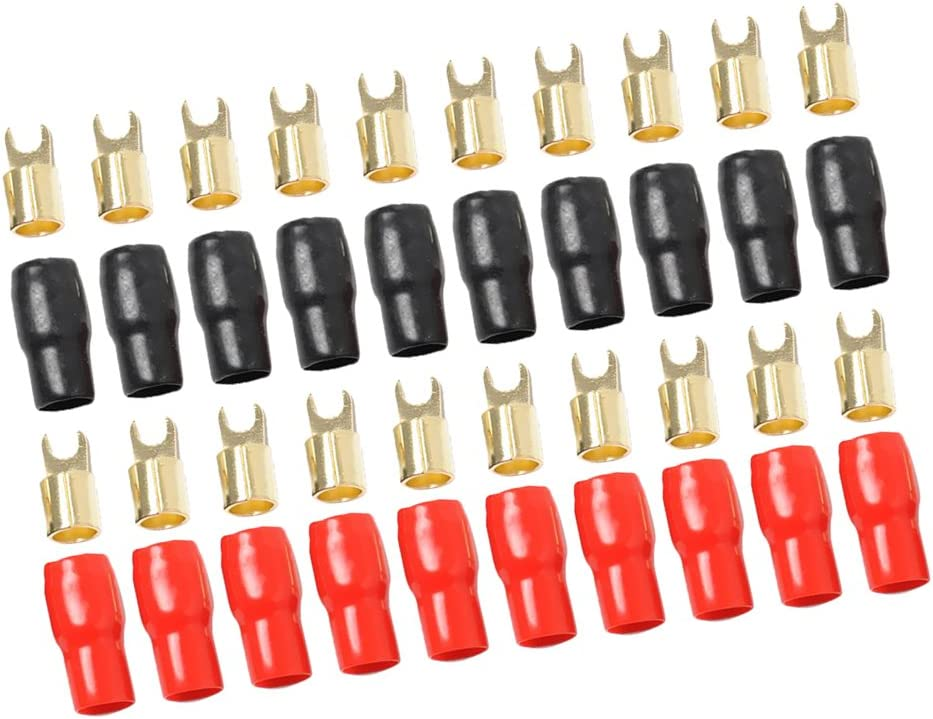 MonkeyJack 10 Pairs 4 AWG Power Ground Wire Connectors Assortment Crimp Fork Terminals