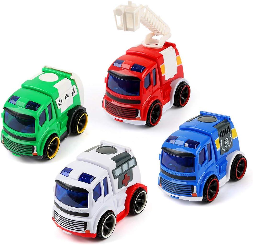BeebeeRun Coches de Juguetes Niños 2 Años,Juguete Vehiculos -Coche de Policía,Camión de Bomberos,Ambulancia,Camión de Basura