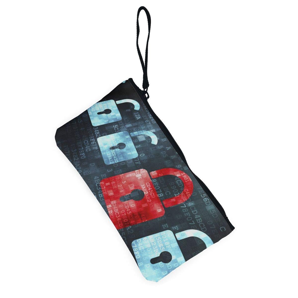 YUANSHAN Color Computer Lock Unisex Canvas Coin Purse Change Cash Bag Zipper Small Purse Wallets with Handle