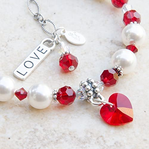 Amazon.com  Red Heart and Love Charm Bracelet with Swarovski Crystal ... 772bce14d