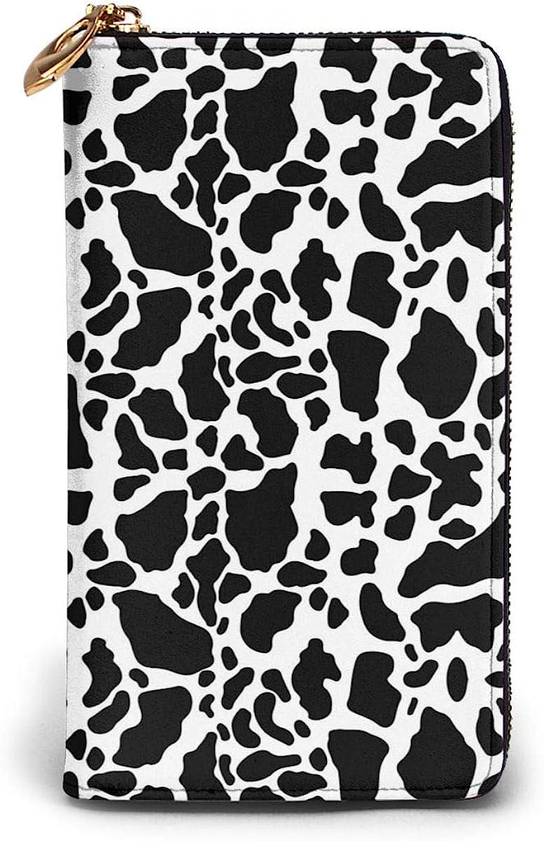 Cow Print Womens Genuine Leather Wallet Zip Around Wallet Clutch Wallet Coin Purse