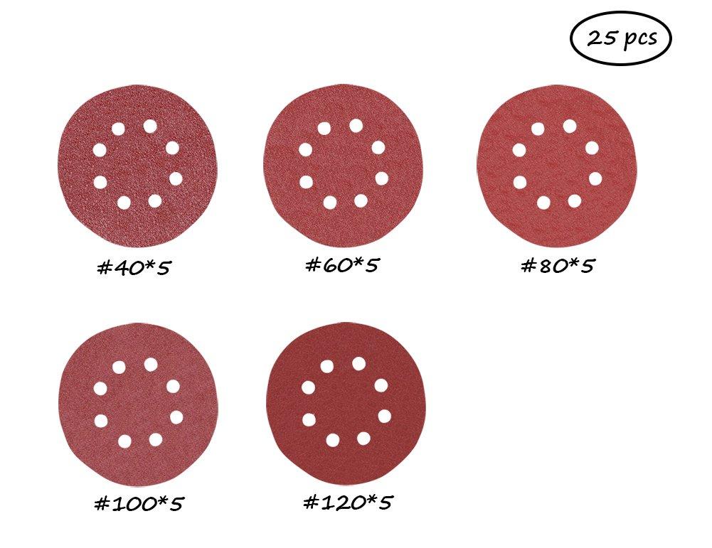 Pack of 25#-006 6 Inch 6 Hole Sanding Disc 40 60 80 100 120 150 180 240 320 400 Grit Sandpaper Assortment Hook and Loop Random Orbital Sander Paper 25, 180 grit