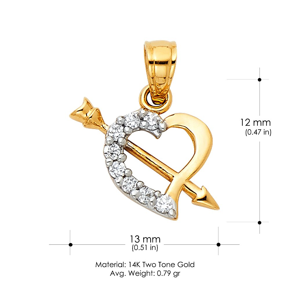 14K Two Tone Gold Cubic Zirconia CZ Heart With Cupid Arrow Charm Pendant with 1.6mm Figaro 3+1 Chain Necklace