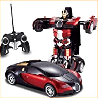 Famous Quality® New Look Remote Converting Car to Robot, Robot to Car Toy, with Light and Sound for Kids (Red_Blue)