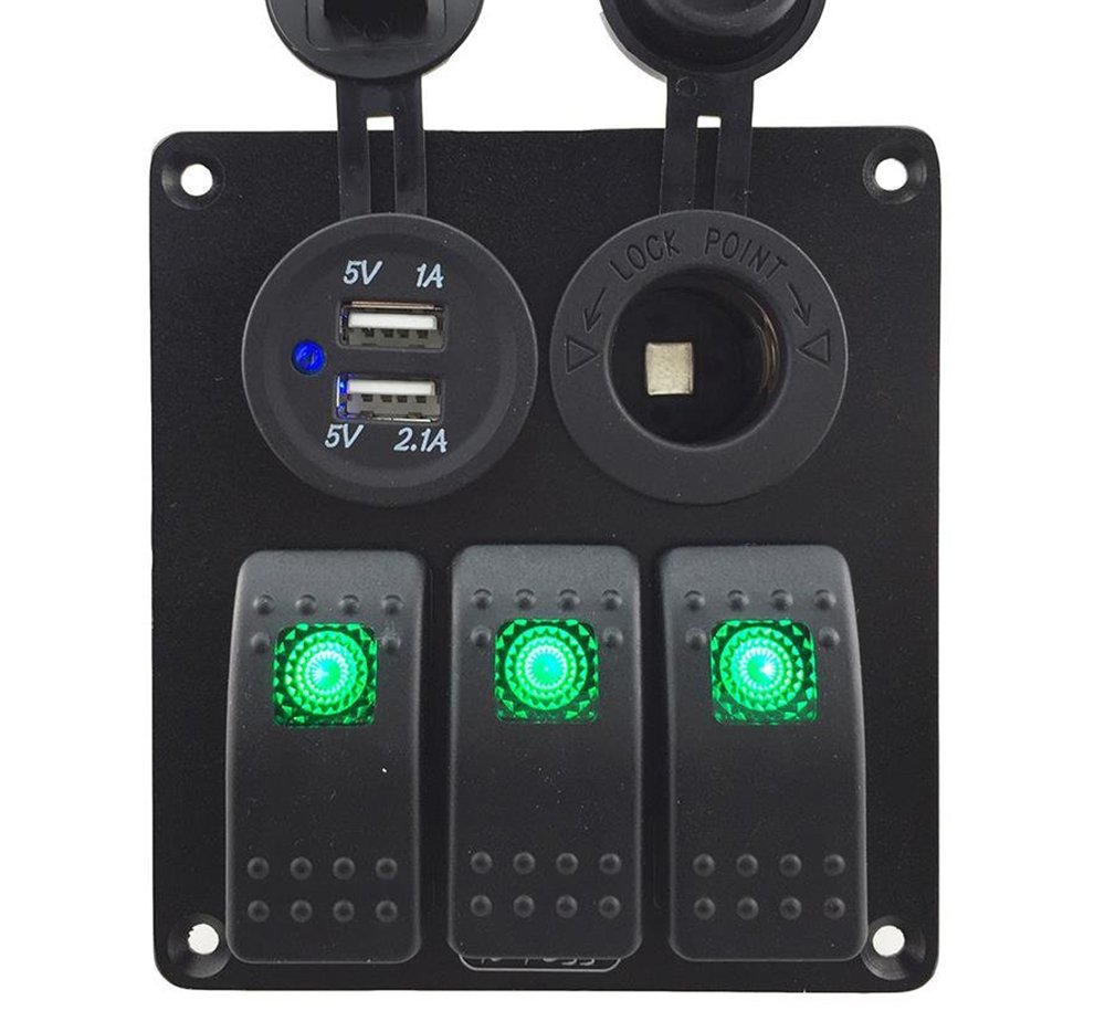 IZTOSS 3 Gang Rocker Switch Panel with Power Socket 3.1A Dual USB Wiring Kits and Decal Sticker Labels DC12V/24V for Marine Boat Car Rv Vehicles Truck Green led by IZTOSS