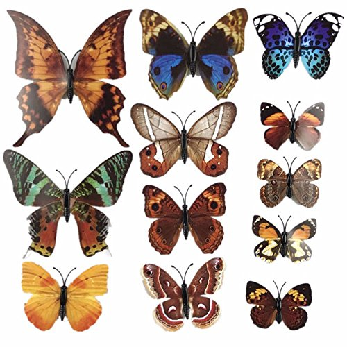 DIY 12 Pcs Vintage 3D Butterfly Wall Stickers for Rooms Wallpaper Poster Bathroom Flowers Wall Decals (Brown) (Cherry Colored Wallpaper)