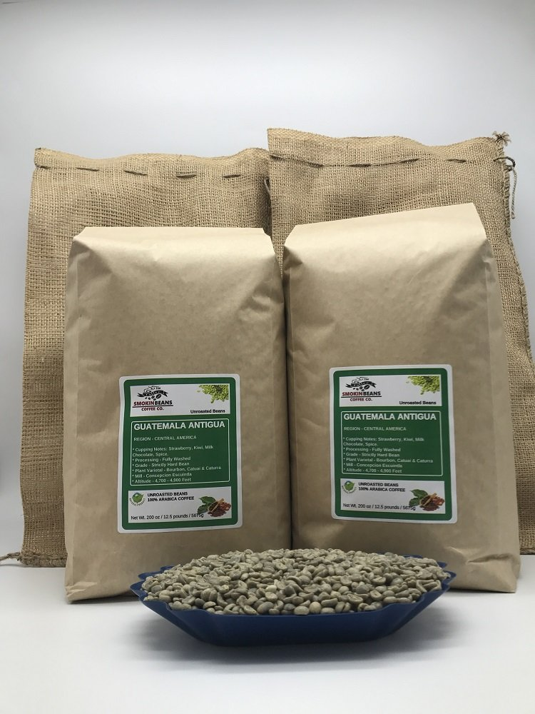25lbs GUATEMALA ANTIGUA (includes a FREE BURLAP BAG) Specialty-Grade, CURRENT-CROP Green Unroasted Coffee Beans - Strictly Hard Bean - Processing Fully Washed - High Altitude Farms 4,700-4,900 ft