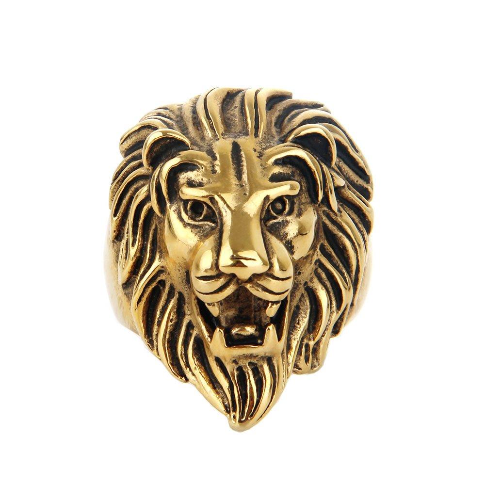 COPAUL Bijoux Bague Homme Lion Head, Acier Inoxydable Anneaux