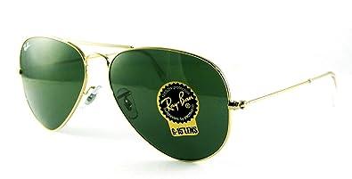 classic raybans kj2p  Ray-Ban RB3025 Classic Aviator Sunglasses Gold/Crystal Green L0205 RB 3025