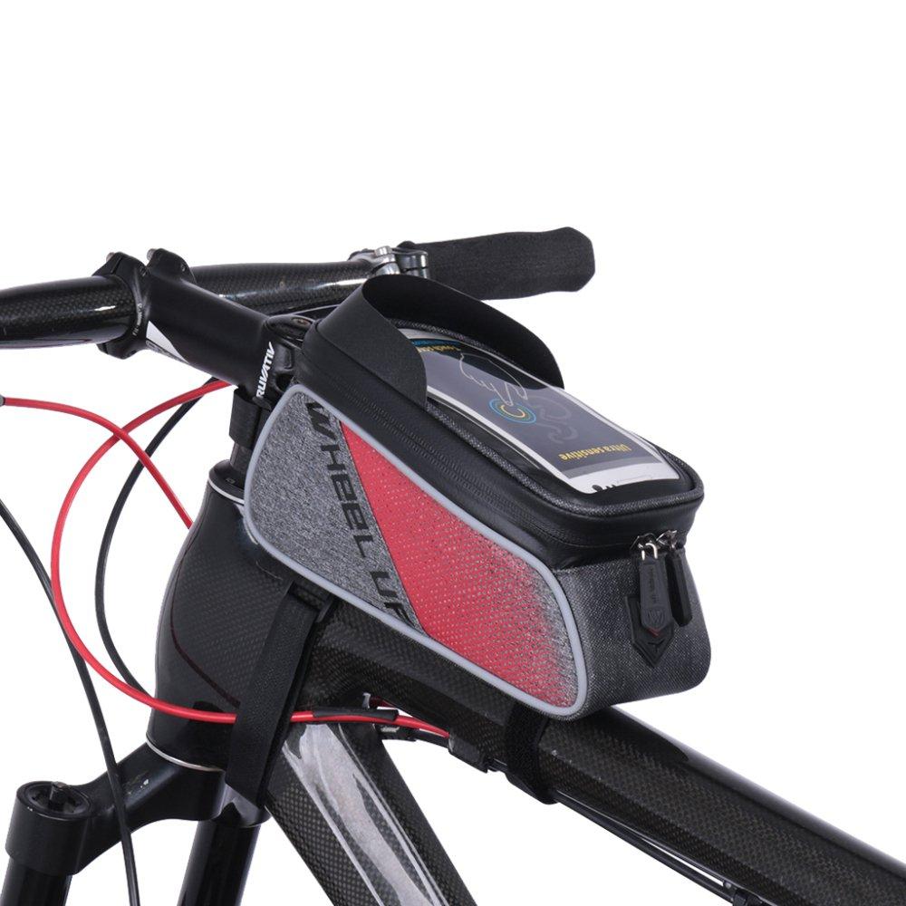 QXMEI Fahrradrahmen Tasche Oberrohr Tasche Wasserdicht Fahrrad Vorderrohrrahmen Mountainbike Strahl Stadt Straße Fahrrad Strahl Mountainbike Tasche Für Handys Unter 6 Zoll,ROT 92f11a