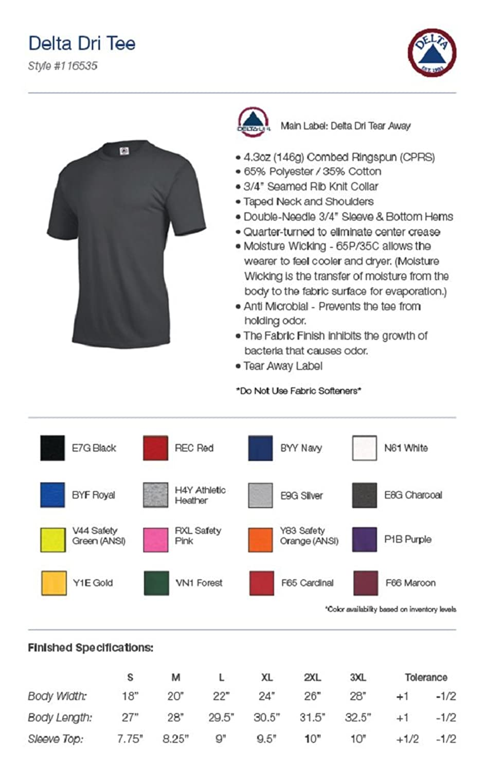 Amazon.com: Delta Apparel Unisex Mens Womens Plain Performance Dri T-Shirt: Clothing