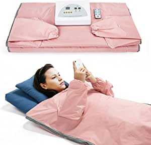 Sauna Blanket for Weight Loss and Detox - Far Infrared (FIR) Body Shaper Slimming Blanket Professional Therapy Sweat Sauna Bed Body Heating with Sleeves Remote Controller for Health Benefits,Home