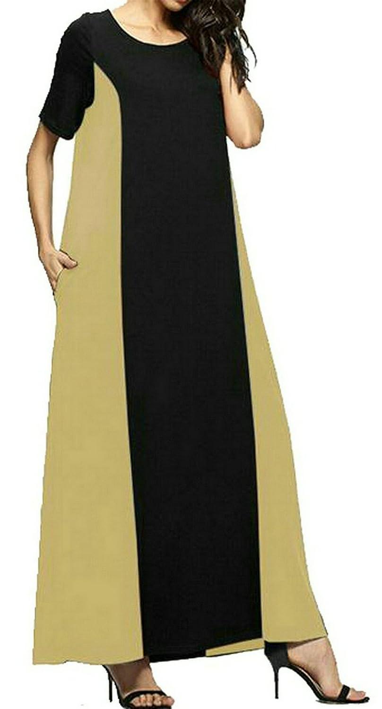 Oberora-Women Plus Size Casual Color Block Short Sleeve Loose Party Beach Maxi Dress