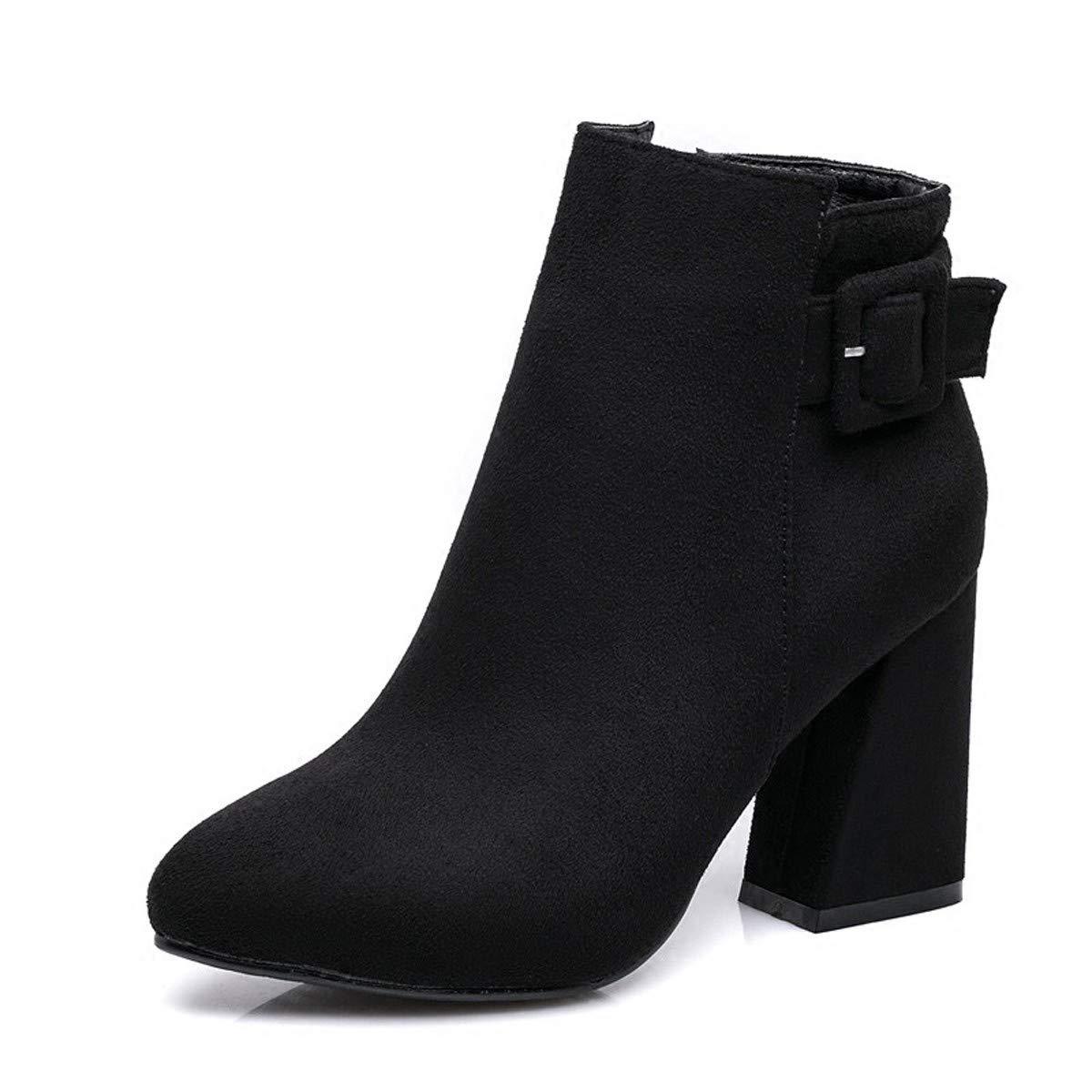 LBTSQ-Samt Spitze Martin Stiefel 8Cm Zuckerguss Temperament High Heels Dicke Schuhe Kurze Stiefel.