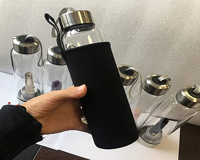 Botella de agua de cristal de cuarzo, cuarzo natural, cristal de piedra preciosa Elixir con cristal curativo de varita de cristal (9 pulgadas 27 pulgadas) ...