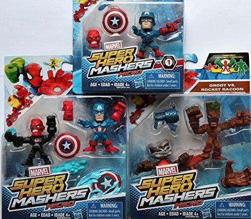 Marvel Super Hero Mashers Micro BUNDLE of 5 Action Figure - Groot, Rocket Raccoon, Red Skull, Captain America & WWII Cap Set of 5