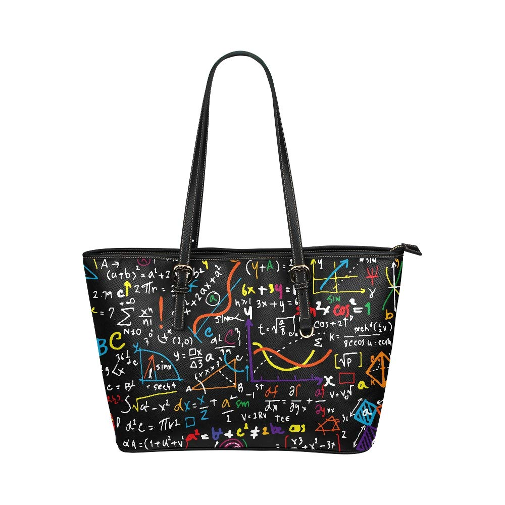 Math Education Complicated Mathematical Genius Large Soft Leather Portable Top Handle Hand Totes Bags Causal Handbags With Zipper Shoulder Shopping Purse Luggage Organizer For Lady Girls Womens Work