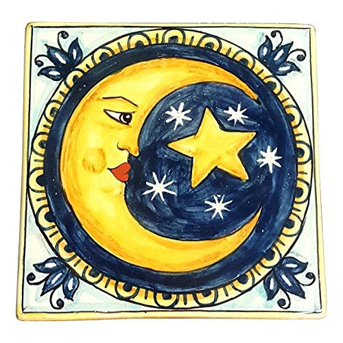 CERAMICHE D'ARTE PARRINI - Italian Ceramic Art Tile Pantiles Pottery Hand Painted Decorated Moon Made in ITALY Tuscan