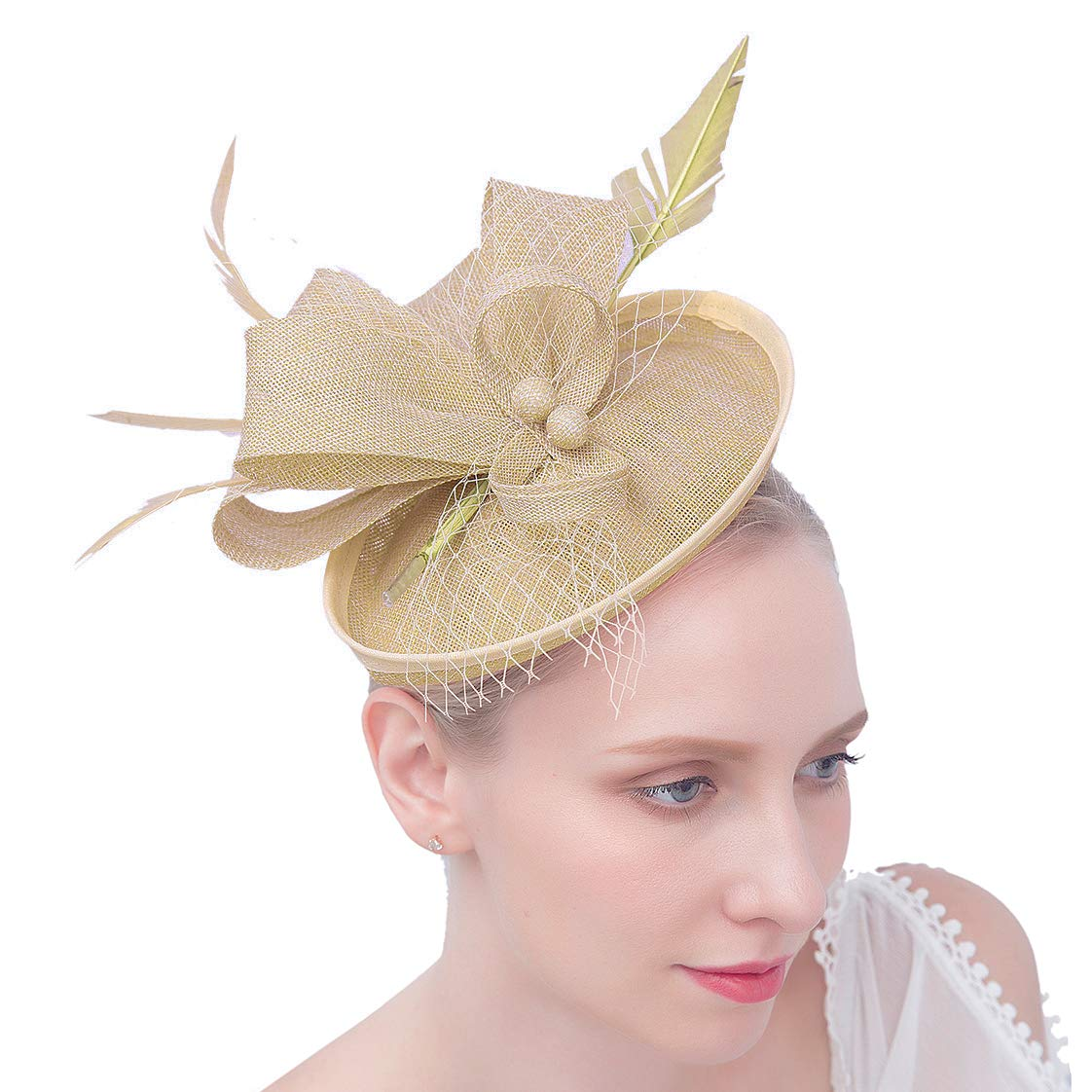 Felizhouse Fascinator Hats Women Ladies Feather Cocktail Party Hats Bridal Headpieces Kentucky Derby Ascot Fascinator Headband (#2 Cambric Khaki)