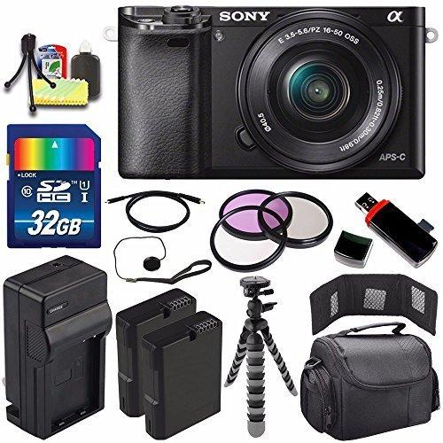 Sony Alpha a6000 Mirrorless Digital Camera with 16-50mm Lens (Black) + Battery + Charger + 32GB Bundle 5 - International Version (No Warranty)