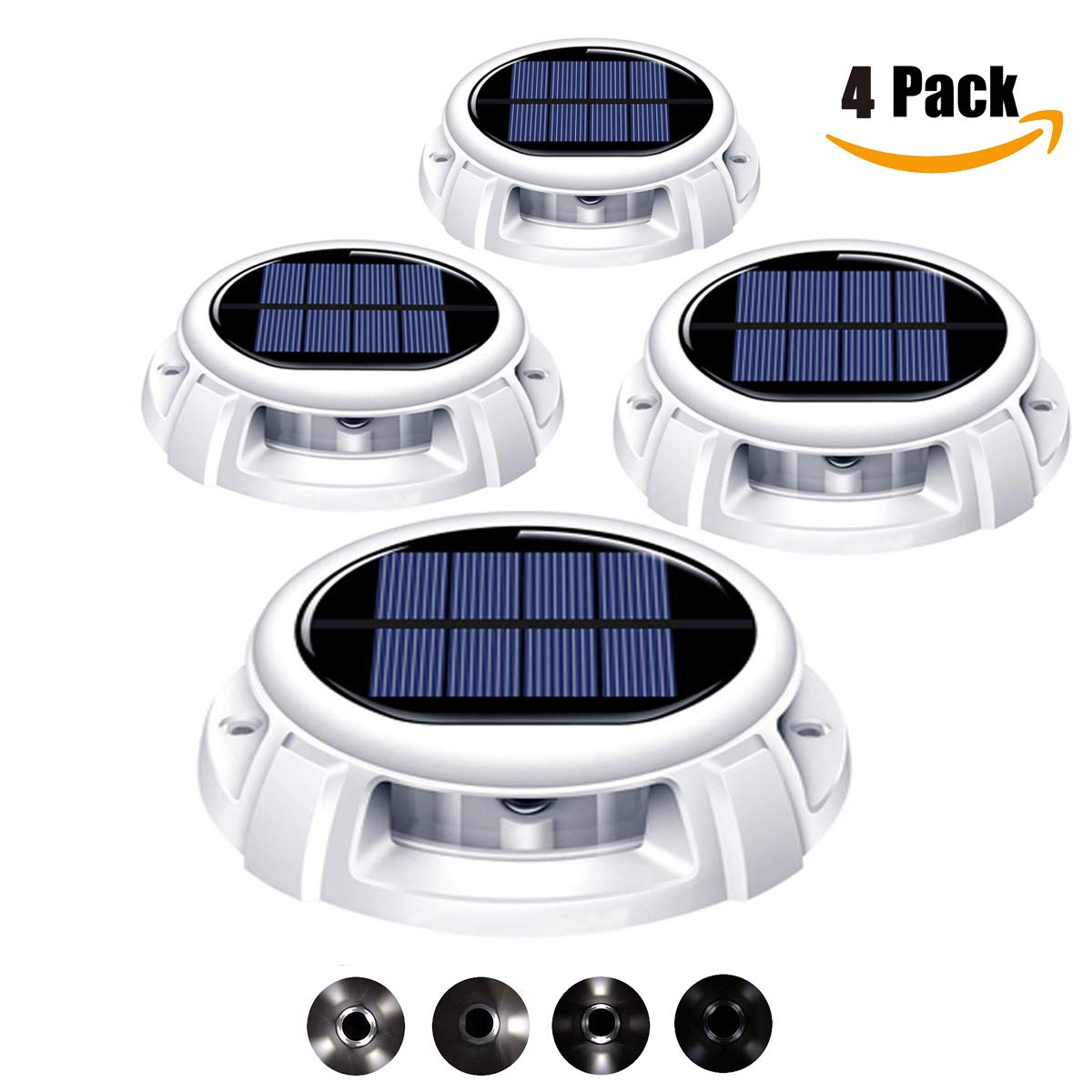 Mitcien 4 Pack Solar Deck Lights Outdoor Waterproof Driveway Dock Lights LED Solar Powered - Solar Ground Disk Lights for Pathway Step Stair Lawn Garden Yard In-Ground(White Color)