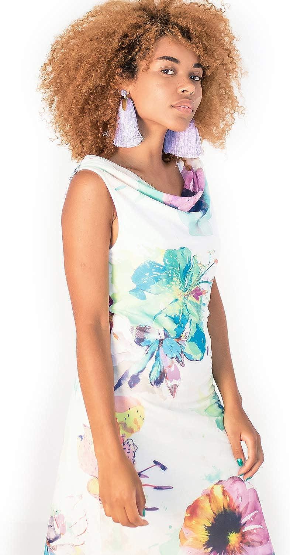 Smash! Dress Hagar, Knielanges buntes Kleid mit Blumenmuster und drapiertem Detail am Hals