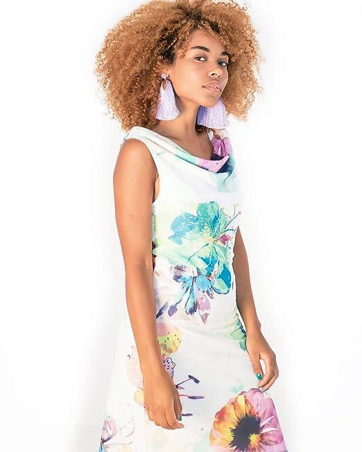 5fca6f9cef39 Smash! Vestido Estampado Flores Mujer de Verano Vestido Blanco ...