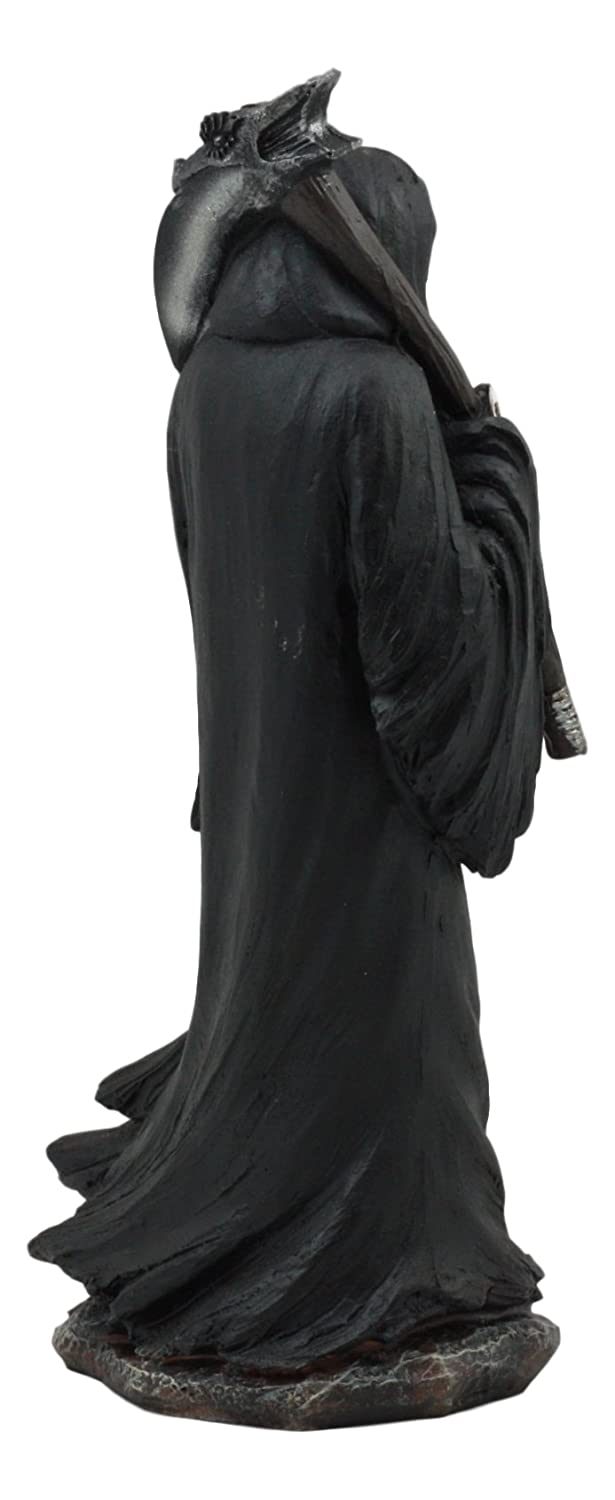 Ebros The Night Watchman Grim Reaper with Scythe Flipping Off Middle Finger Statue 8.25 Tall Gothic Skeleton Caped Assassin Figurine Ebros Gift