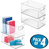 """mDesign Office Organizer Bins for Pens, Pencils, Note Pads, Staples, Tape - Pack of 4, 10"""" x 6"""" x 5"""", Clear"""