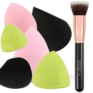 Docolor 6+1Pcs Makeup Sponges with Kabuki Foundation Brush, Foundation Synthetic Kabuki Brush & Professional Beauty Makeup Sponge Blender for Liquid Blending Mineral Powder Makeup Tools