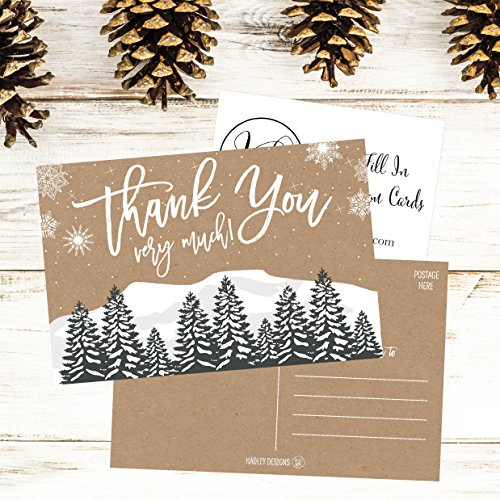25 4x6 Woodland Christmas Holiday Thank You Postcards Bulk, Blank Cute Modern Kraft Winter Note Card Stationery For Wedding, Bridesmaids, Bridal or Baby Shower, Teachers, Religious, Business Cards Photo #5