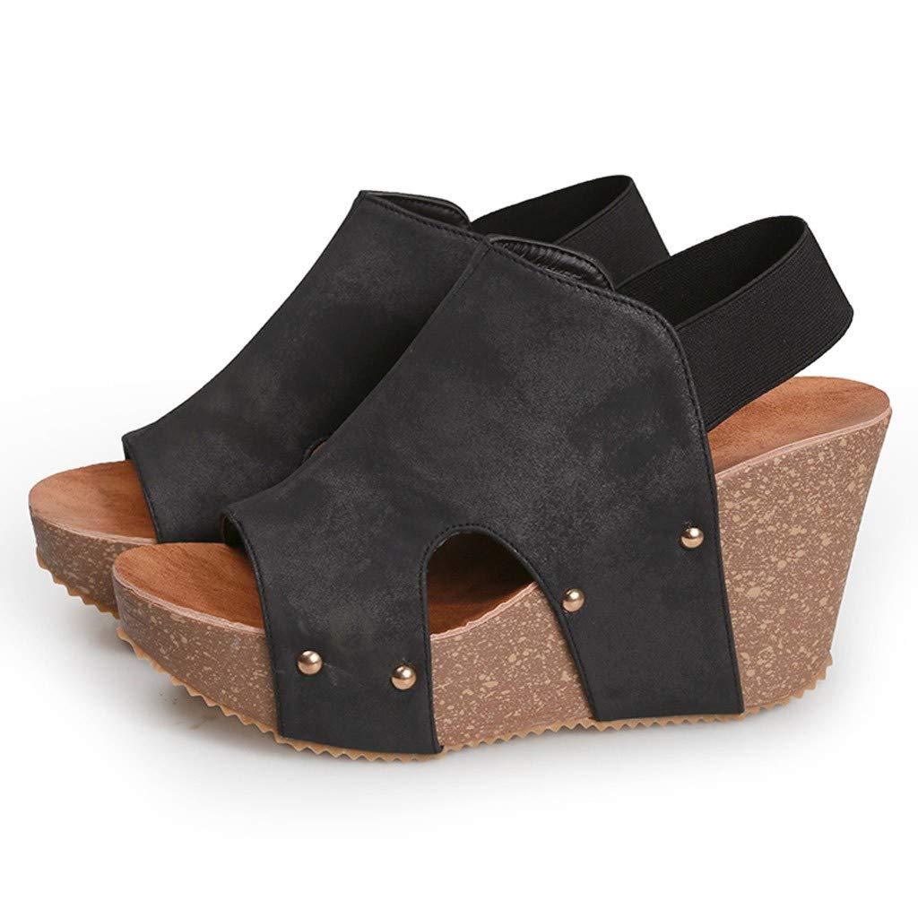 Leather Platform Wedge Sandals Summer