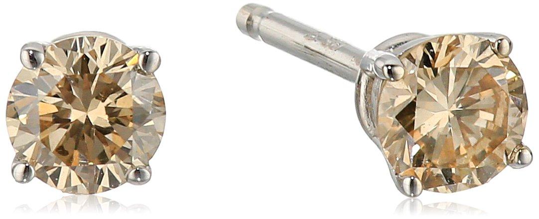 Champagne Diamond 14k White Gold Stud Earrings (1/4cttw, I2-I3 Clarity)