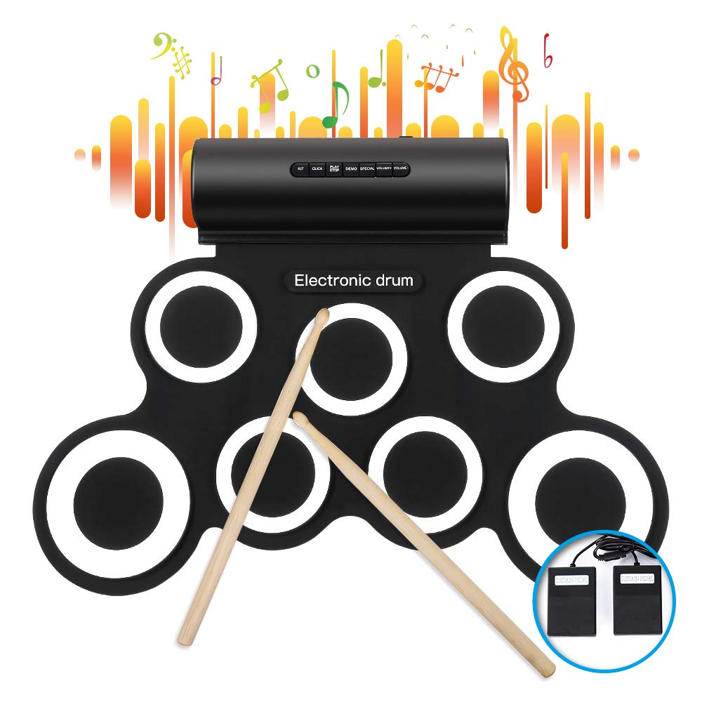 iWord Electronic Drum Set, Built-in Dual Speakers Roll Up Drum Practice Pad 10 Hours Playtime with Headphone Jack Drum Pedals Drum Sticks Great Holiday Birthday Gift for Kids by IWORD