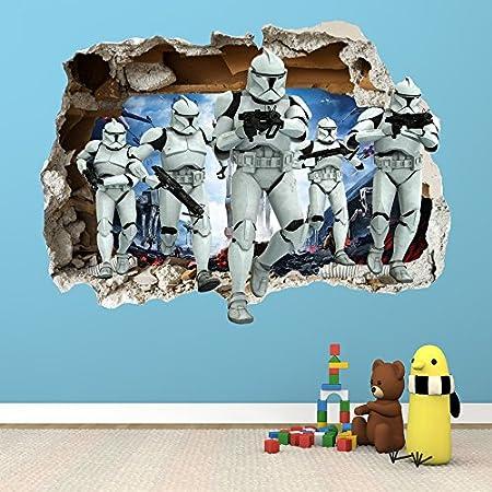 Star Wars 3D Magic Window Wall Smash Wall Art Self Adhesive Sticker Decal V916*