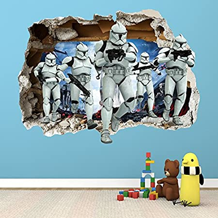 Star wars smashed wall sticker 3d bedroom boys girls wall art decal