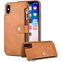 Aearl iPhone XR Zipper Wallet Case,iPhone XR Leather Case With Card Holder,Apple iPhone XR Flip Folio Credit Card Slot Money Pocket Magnetic Detachable Buckle Wallet Phone Case For Women Men-Brown(iPhone XR 6.1 inch 2018)
