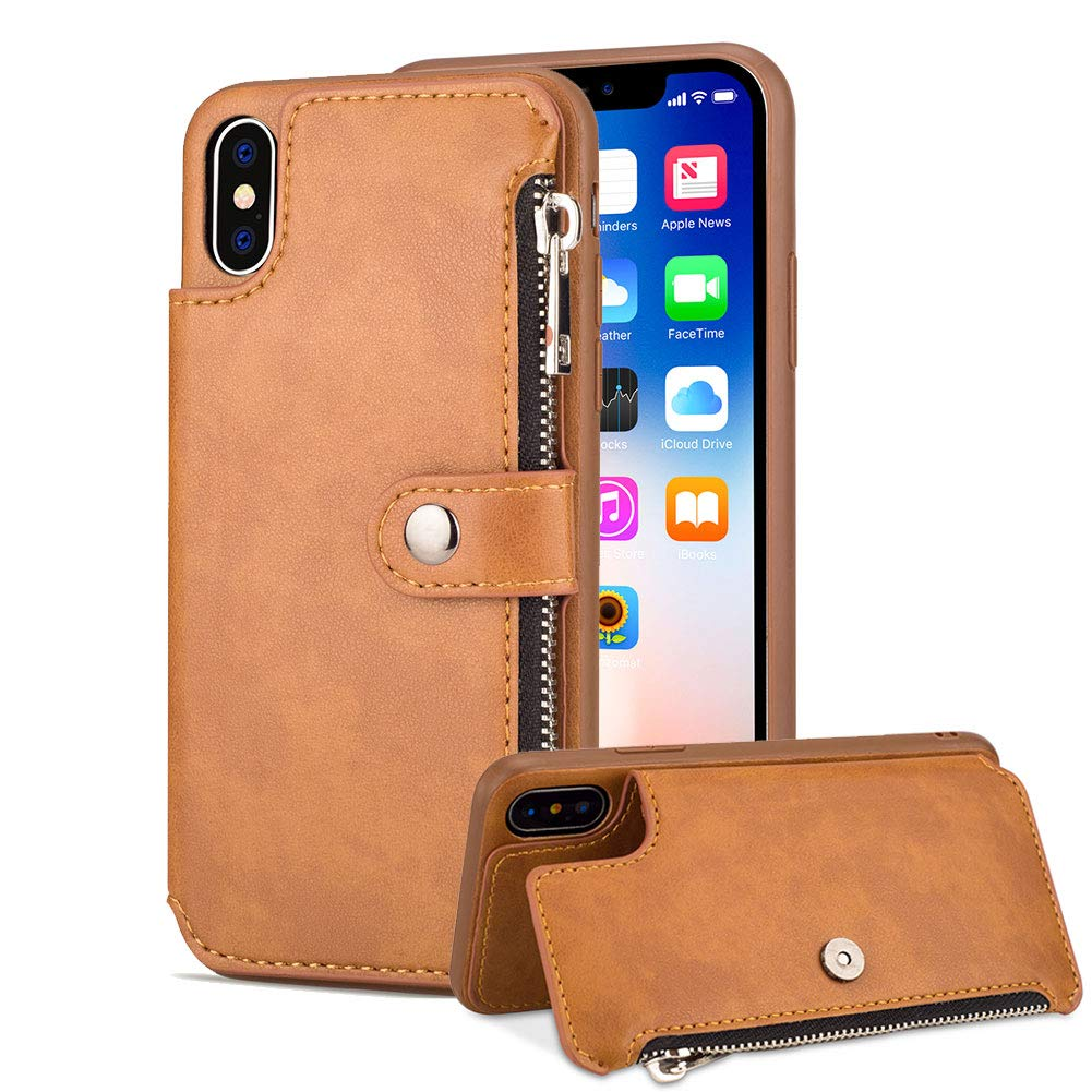 Aearl Samsung Galaxy S9 Plus Zipper Wallet Case,Galaxy S9 Plus Leather Case with Card Holder,Flip Folio Credit Card Slot Money Pocket Magnetic Detachable Buckle Wallet Phone Case for Women Men-Brown by Aearl
