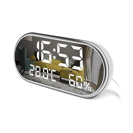 LED Despertador Digital - Alarma Grande Despertador con Triple Alarma - 3 Niveles Brillo y Temperatura Humedad Enchufe Reloj Despertador Pantalla ...