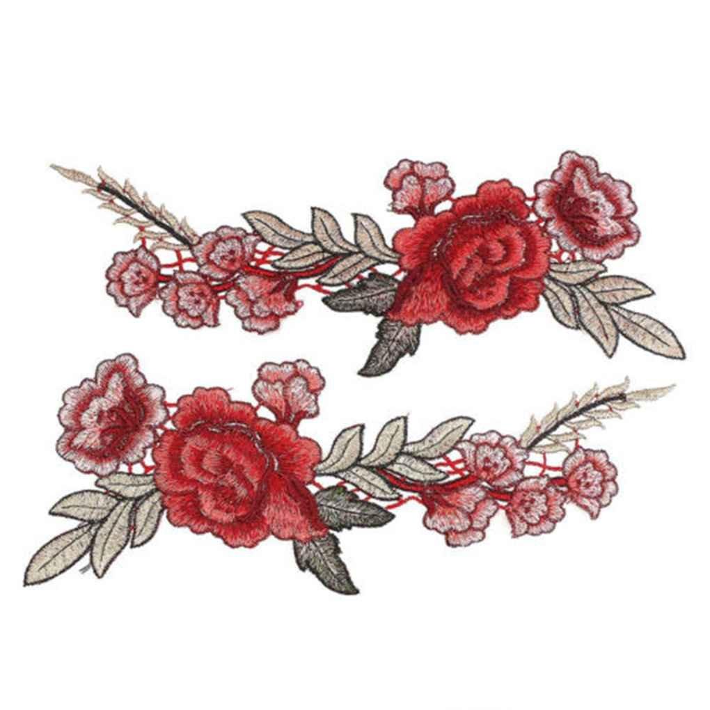 Dpolrs 1 Paire de Bricolage Rose Flower ecussons brod/és Coudre Patch Applique pour Les Pantalons Jeans