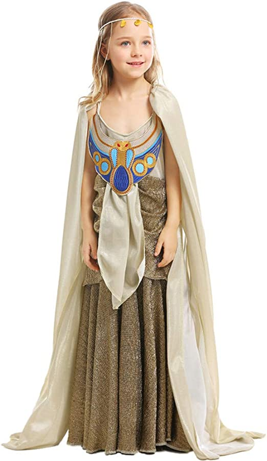 Amazon Com Qz Girls Cleopatra Costume Kids Egyptian Princess Dress Queen Of The Nile Outfit Halloween Costume Greek Goddess Gown Child L Home Kitchen